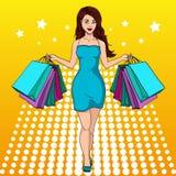 Flicka med shopping 我买了很多衣裳 1截去构成包括的路径购物的袋子 方式例证 流行艺术 向量例证