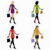 Flicka med shopping 向量例证