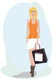 Flicka med shopping Arkivfoton
