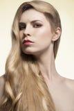 Flicka med silkeslent långt hår arkivfoton