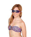 Flicka med simninggoggles Arkivfoto
