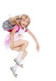 Flicka med skolaryggsäcken Royaltyfria Foton