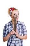 Flicka med skruvnyckeln Royaltyfri Foto