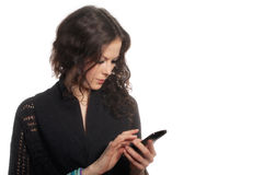 Flicka med smartphone Arkivbild