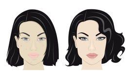 Flicka med smink och utan det stock illustrationer