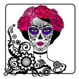 Flicka med sockerskallemakeup Mexicansk dag av dödaen stock illustrationer