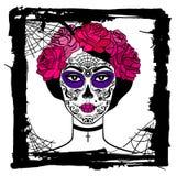 Flicka med sockerskallemakeup Mexicansk dag av dödaen Fotografering för Bildbyråer