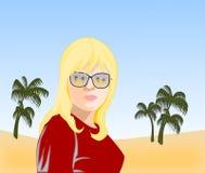 Flicka med solglasögon Arkivbild