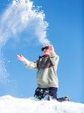 Flicka i snowen Fotografering för Bildbyråer
