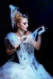 Flicka med spindeln på rengöringsduk Fotografering för Bildbyråer