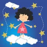 Flicka med stjärnor och molnet Fotografering för Bildbyråer