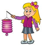 Flicka med temabild 1 för pappers- lykta vektor illustrationer