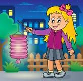 Flicka med temabild 2 för pappers- lykta stock illustrationer