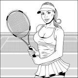 Flicka med tennisracket royaltyfri illustrationer
