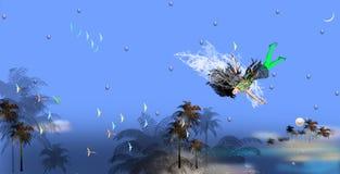 Flicka med tjockt flyg för svart hår i blå luft stock illustrationer