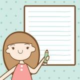 Flicka med tomt papper för din text Royaltyfri Bild