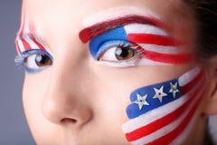 Flicka med USA makeup, closeup royaltyfri bild