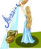 Flicka med vatten- och textVattumannen vektor illustrationer