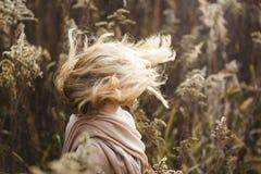 Flicka med vind i hennes hår Arkivfoton