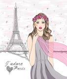 Flicka nära Eiffeltorn. Hand dragen Paris vykort. stock illustrationer