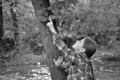 Flicka nära skogfloden Arkivbild