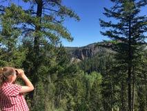 Flicka observera naturen Arkivfoto