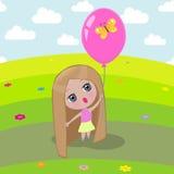 Flicka och ballong Royaltyfria Bilder