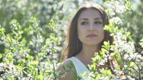 Flicka och blommande livsstilkörsbär Flickan står i naturen som blomstrar den trädgårds- körsbäret stock video