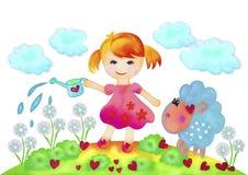Flicka och blommor Arkivbilder