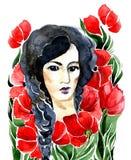 Flicka och blommor Royaltyfri Fotografi