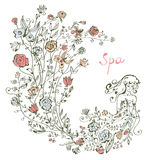 Flicka och blommor - brunnsortdiagramillustration Arkivfoton