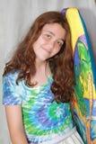 Flicka och boogieboeard Fotografering för Bildbyråer