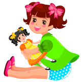 Flicka och docka Arkivfoton