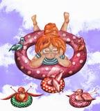 Flicka och fåglar för vattenfärg gullig i en rubber cirkel på violetfärgstänkbakgrund för ungar royaltyfri illustrationer