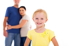 Flicka och föräldrar Arkivbild