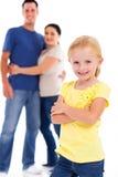 Flicka och föräldrar Arkivbilder