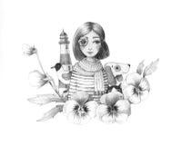 Flicka och fyr vektor illustrationer