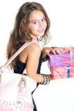 Flicka och gåva arkivfoton
