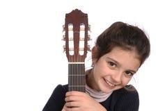 Flicka och gitarr Arkivbilder