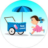 Flicka- och glassvagn vektor illustrationer