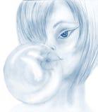 Flicka och gummi stock illustrationer