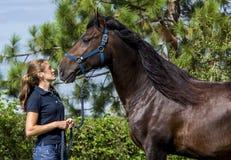 Flicka och häst Arkivfoton