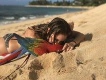Flicka och hennes ara på stranden Fotografering för Bildbyråer
