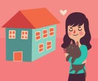 Flicka och hennes hund bredvid deras nya hem Arkivfoton
