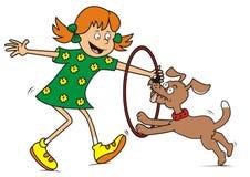 Flicka och hund Arkivfoton