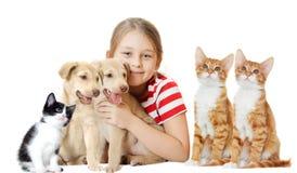Flicka och husdjur royaltyfri foto