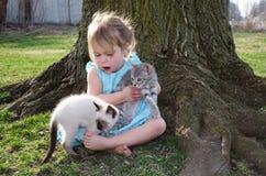 Flicka- och husdjurkattungar royaltyfri bild
