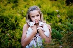 Flicka och katter Royaltyfria Foton