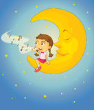Flicka och måne Royaltyfri Bild