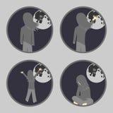 Flicka- och månesymboler vektor illustrationer